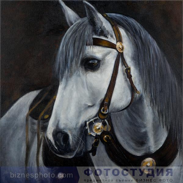 Картина маслом - белый конь